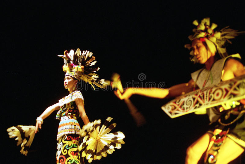 Enggang dancer from Dayak stock image