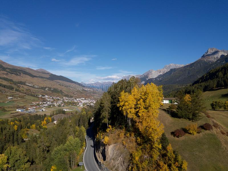 Visit Engiadina - Scuol and other host cities. Engiadina is a special part of Switzerland. Fall in love with this pictures royalty free stock photo