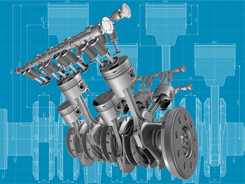 Engine. V8 engine pistons, valves and crankshaft on blueprint. 3D image stock illustration