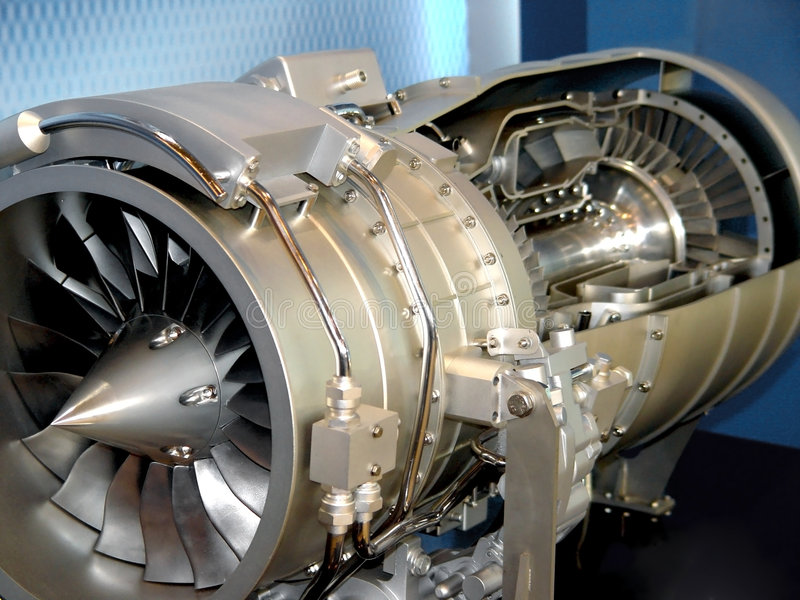 The engine of airplane stock image
