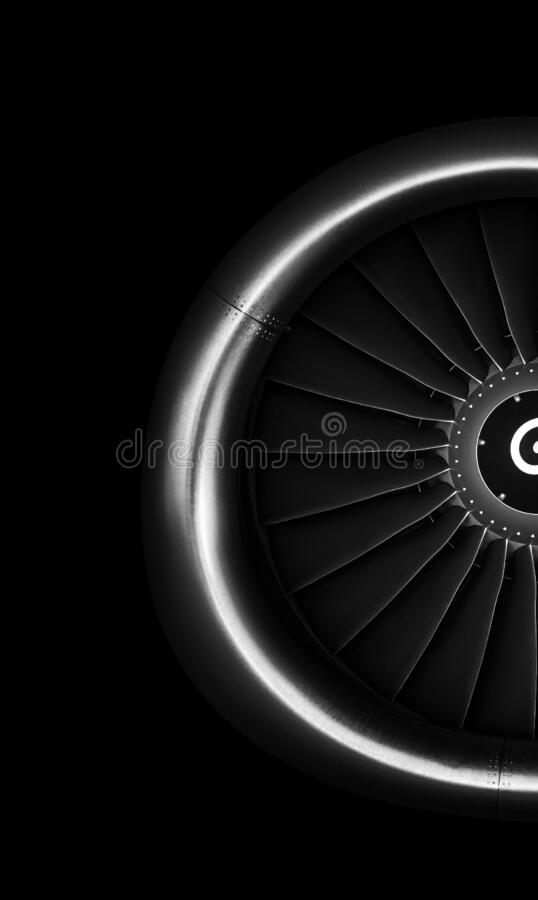 Engine airplane. close up of turbojet of aircraft on black background royalty free stock images