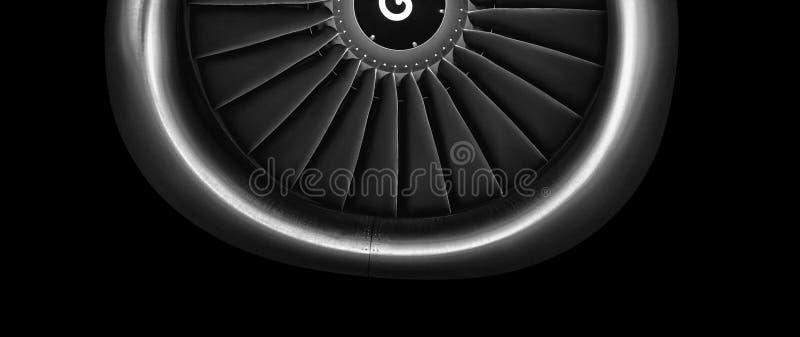 Engine airplane. close up of turbojet of aircraft on black background royalty free stock photo