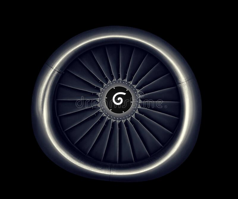 Engine airplane. close up of turbojet of aircraft on black background stock photography