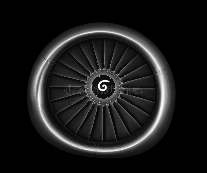 Engine airplane. close up of turbojet of aircraft on black background stock image