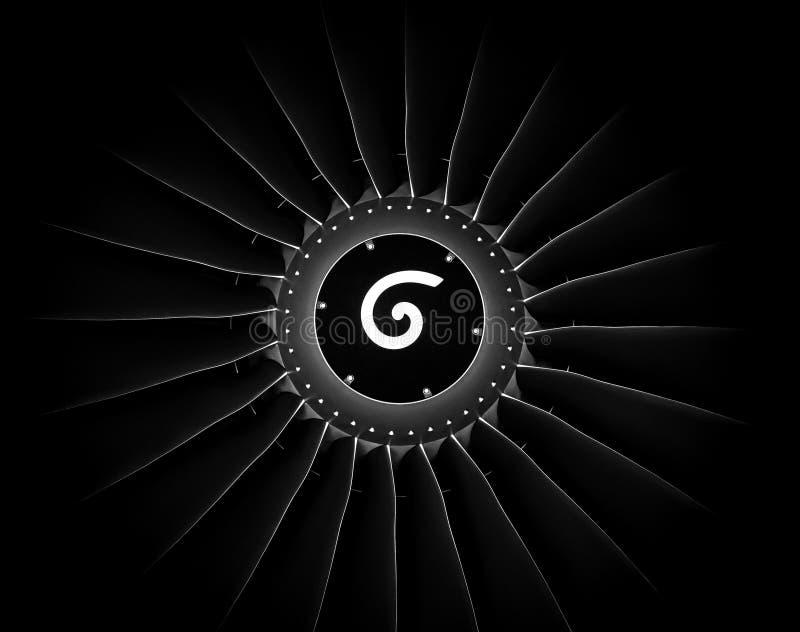 Engine airplane. close up of turbojet of aircraft on black background stock photo