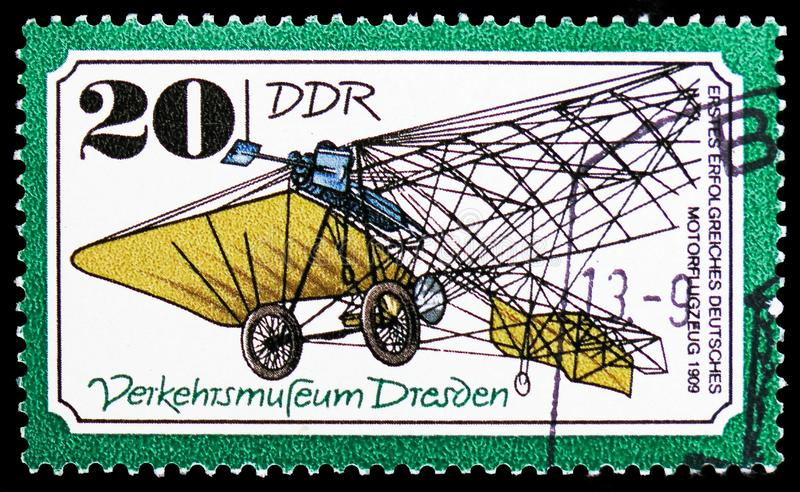 Engine airplane in 1909, Traffic Museum Of Dresden serie, circa 1977. MOSCOW, RUSSIA - FEBRUARY 20, 2019: A stamp printed in Germany, Democratic Republic, shows royalty free stock photography