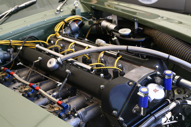 Engine bay. Close up of engine bay at Le Mans 24 hour royalty free stock image
