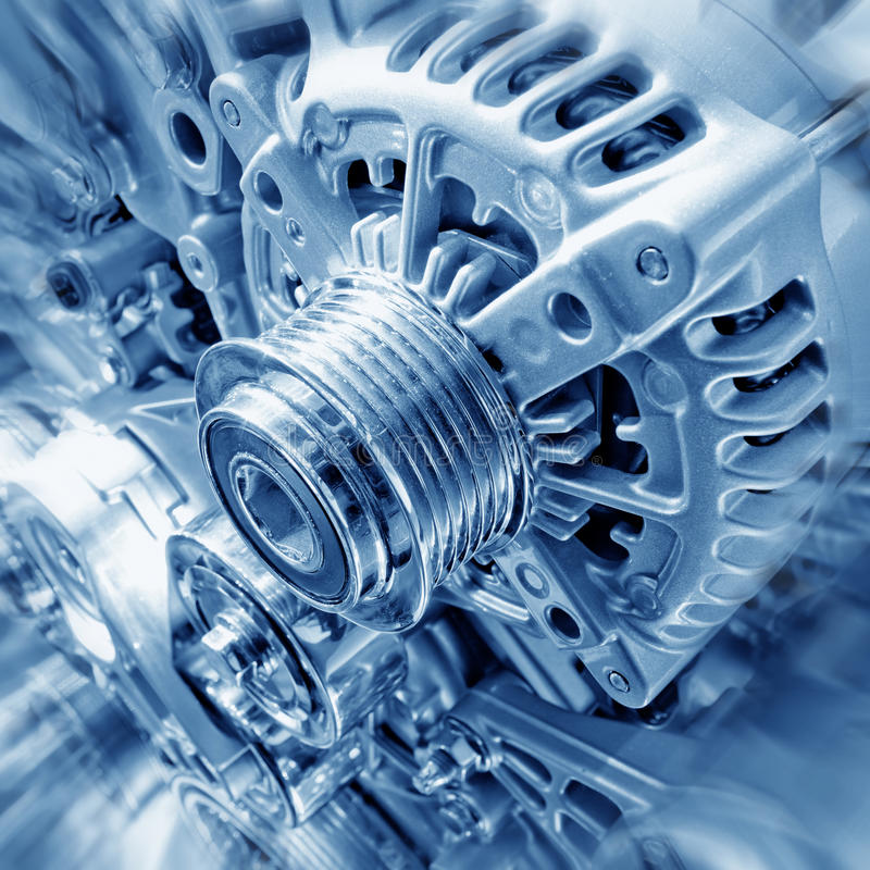 Engine. Car engine part - Close up image of an internal combustion engine stock images