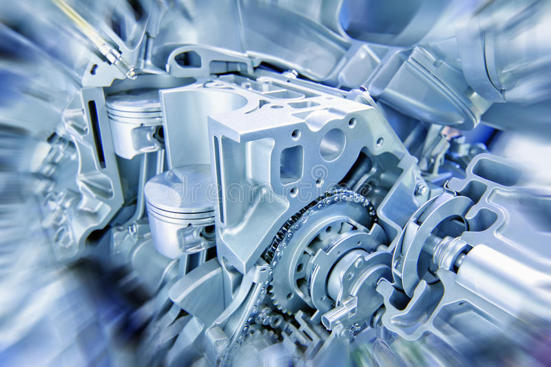 Engine. Car engine part - Close up image of an internal combustion engine royalty free stock photo