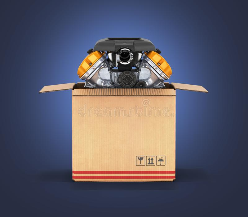 Engine in a cardboard box Concept of sale and delivery of auto parts on dark blue gradient background 3d. Engine in a cardboard box Concept of sale and delivery royalty free illustration