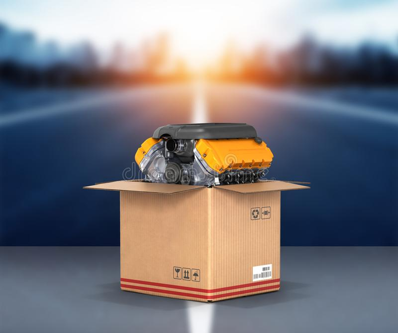 Engine in a cardboard box Concept of sale and delivery of auto parts on road background 3d stock illustration
