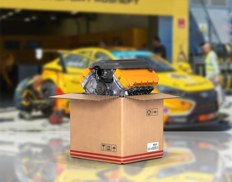 Engine in a cardboard box Concept of sale and delivery of auto parts on service station background 3d vector illustration