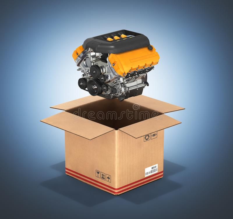 Engine with a cardboard box Concept of sale and delivery of auto parts without shadow on dark blue gradient background 3d. Engine with a cardboard box Concept of vector illustration