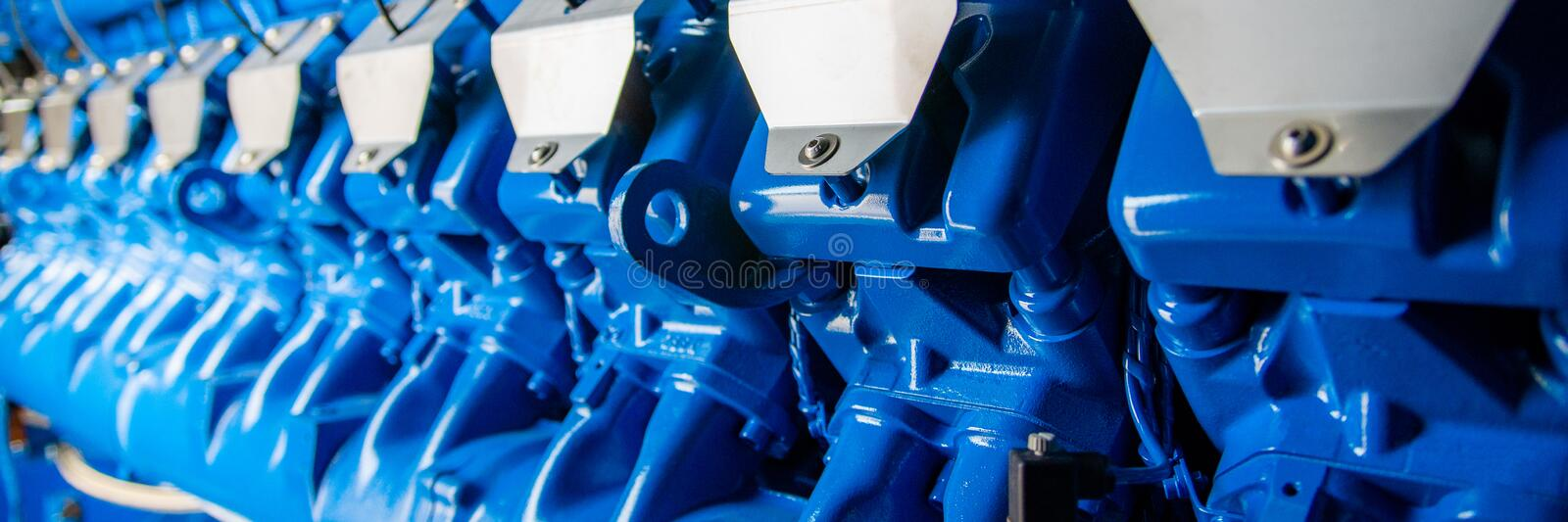 Engine of CHP unit. Diesel and gas industrial electric generator. Alternative energy for industry, electricity, cogeneration, trigeneration, equipment, fuel stock image