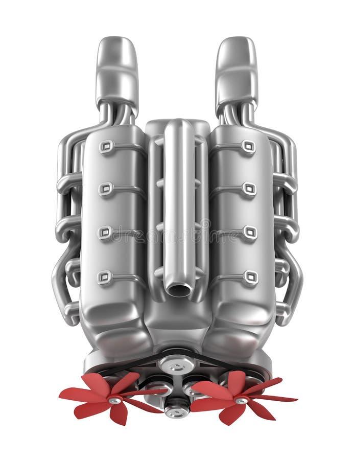 Engine de V8 au-dessus de blanc. Mes propres conception. Première vue illustration libre de droits