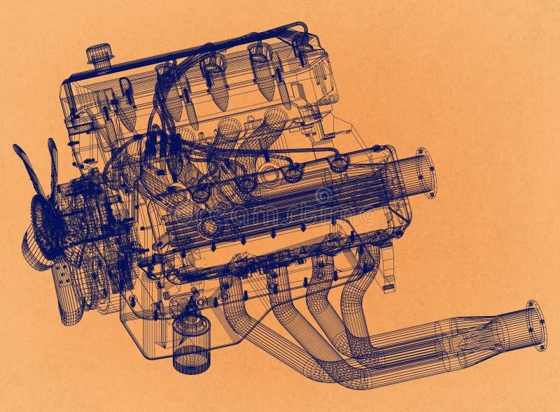 Engine Design - Retro Architect Blueprint royalty free illustration