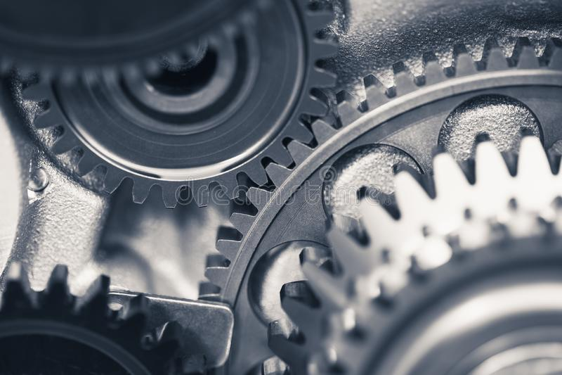 Engine gear wheels, transportation background stock photography