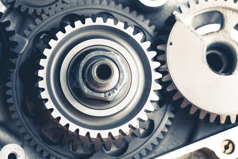 Engine gear wheels. Engine gears wheels, closeup view royalty free stock photo