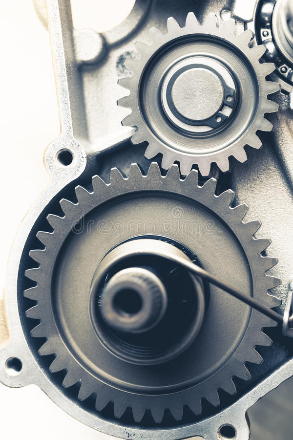 Engine gear wheels. Engine gears wheels, closeup view stock image