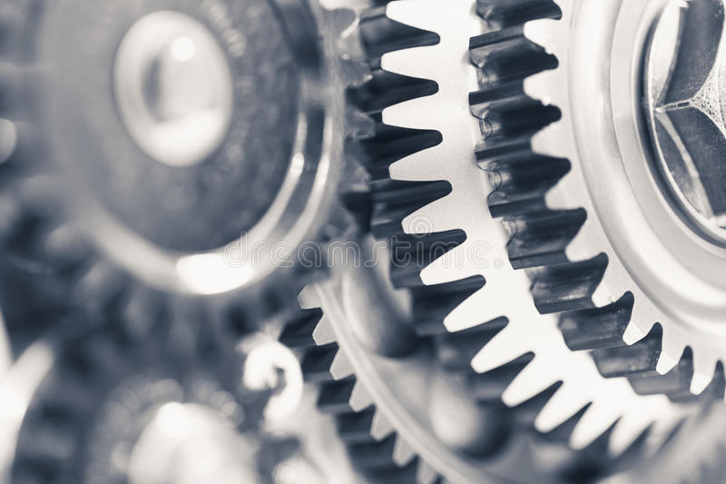 Engine gear wheels. Industrial background royalty free stock photo