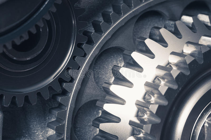 Engine gear wheels. Industrial background stock images
