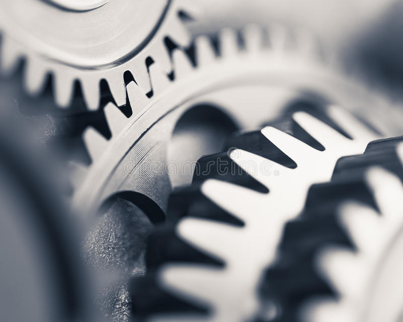 Engine gear wheels. Industrial background stock photography