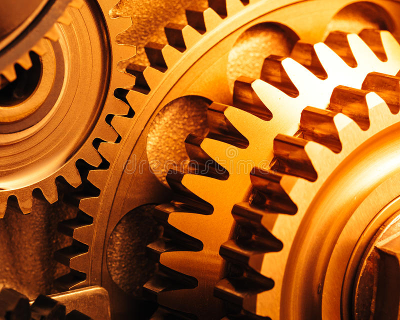 Engine gear wheels. Industrial background royalty free stock photos