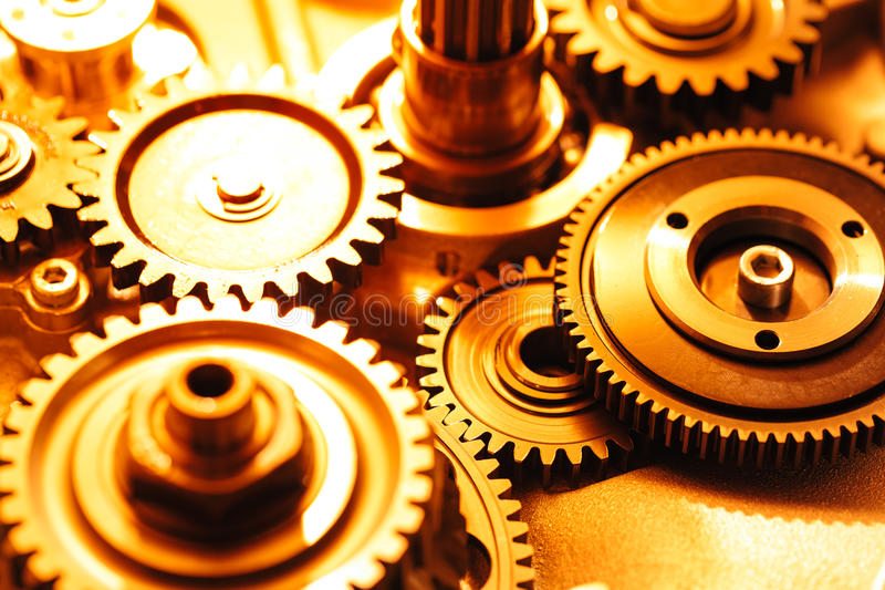 Engine gear wheels. Industrial background stock photo