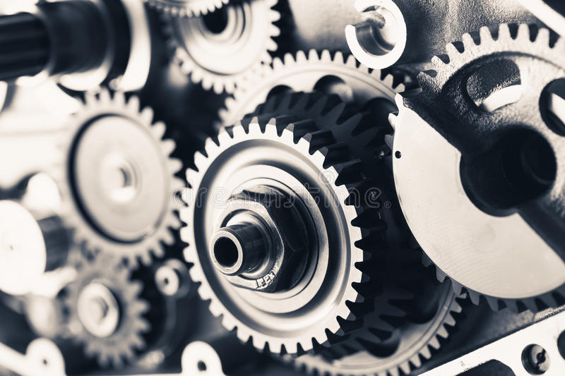 Engine gear wheels. Industrial background royalty free stock image