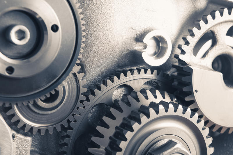 Engine gear wheels, industrial background royalty free stock photo