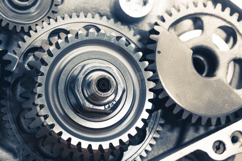 Engine gears wheels. Closeup view stock photos