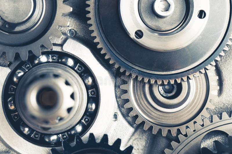 Engine gears wheels. Closeup view royalty free stock images