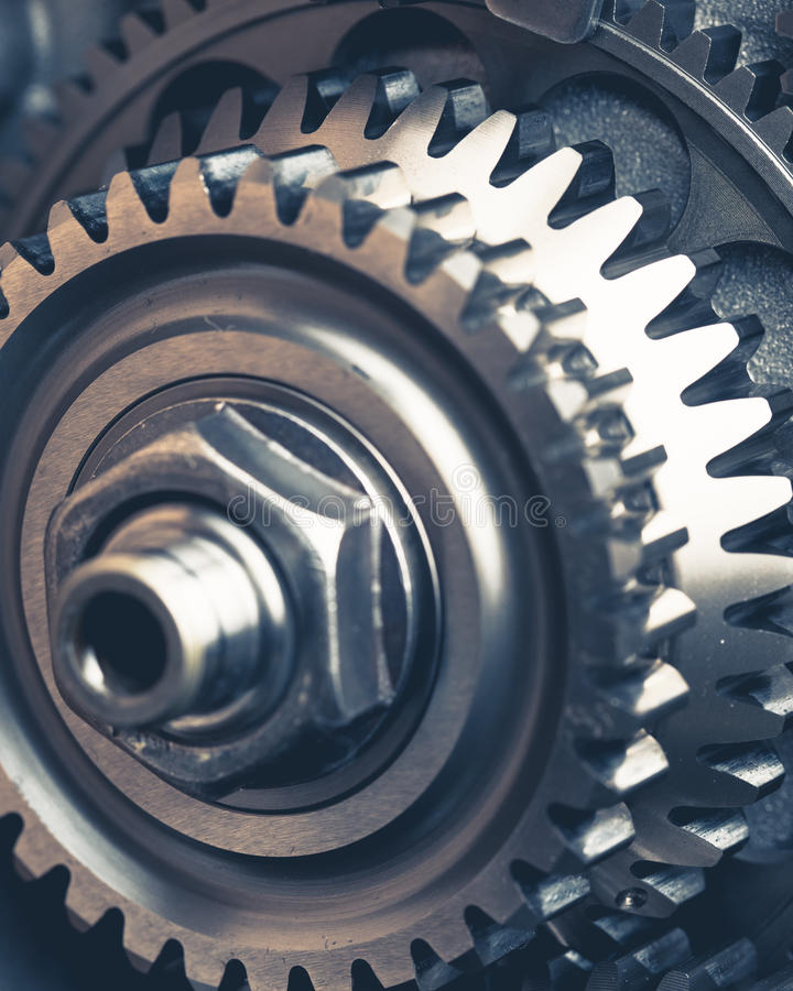 Engine gears wheels. Closeup view royalty free stock image