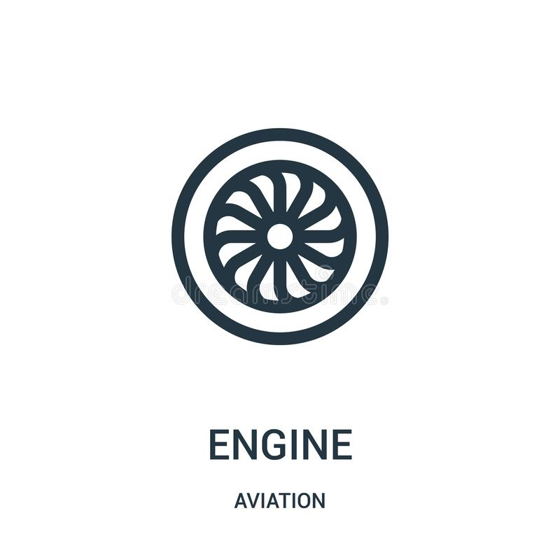 Engine icon vector from aviation collection. Thin line engine outline icon vector illustration. Linear symbol for use on web and. Mobile apps, logo, print media stock illustration