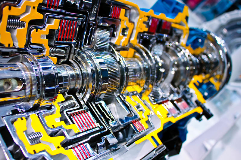 Engine inside view. Engine of modern car with lots of details stock image