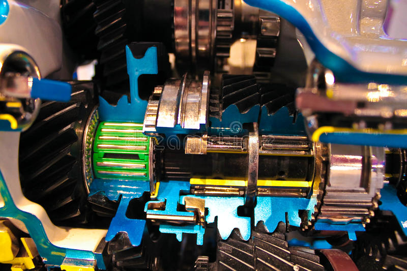 Engine inside view. Engine of modern car with lots of details stock photo