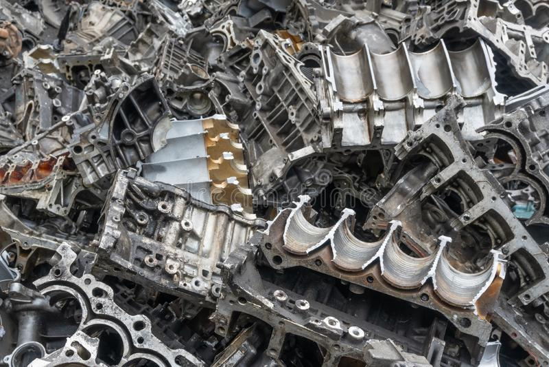Engine junkyard, cracked engine block. Engine junkyard, cracked engine block, aluminum for recycle stock photo