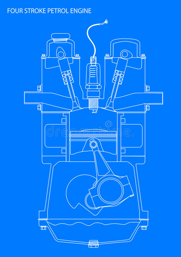Engine line drawing blueprint stock illustration illustration of a four stroke petrol engine line drawing in white over blue malvernweather Image collections