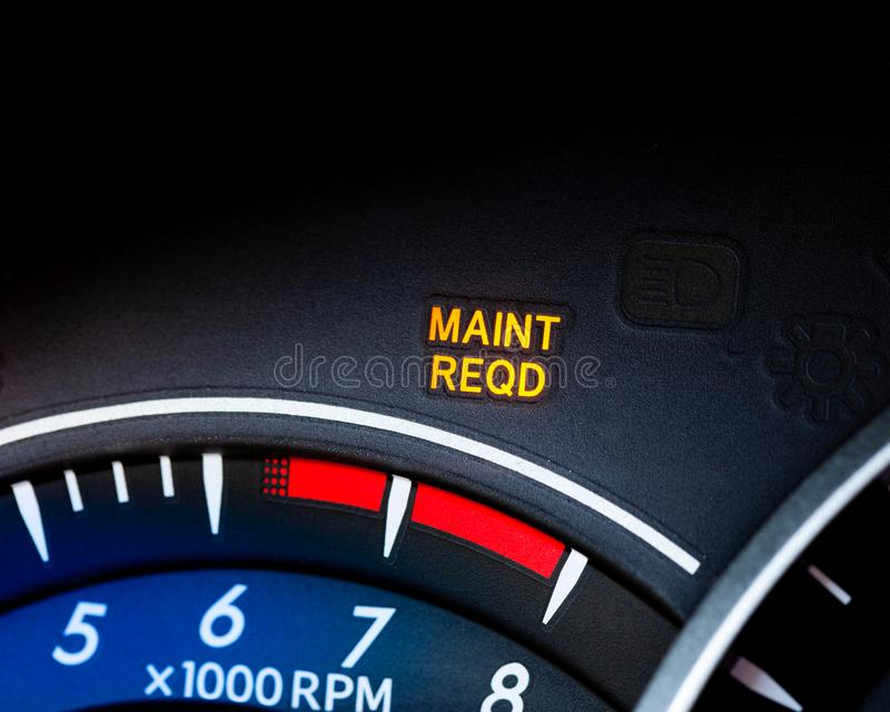 Engine maintenance or service light is on in car dashboard. Car dashboard cluster background stock images