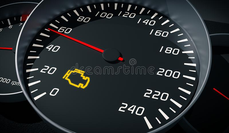 Engine malfunction warning light control in car dashboard. 3D rendered illustration.  stock illustration