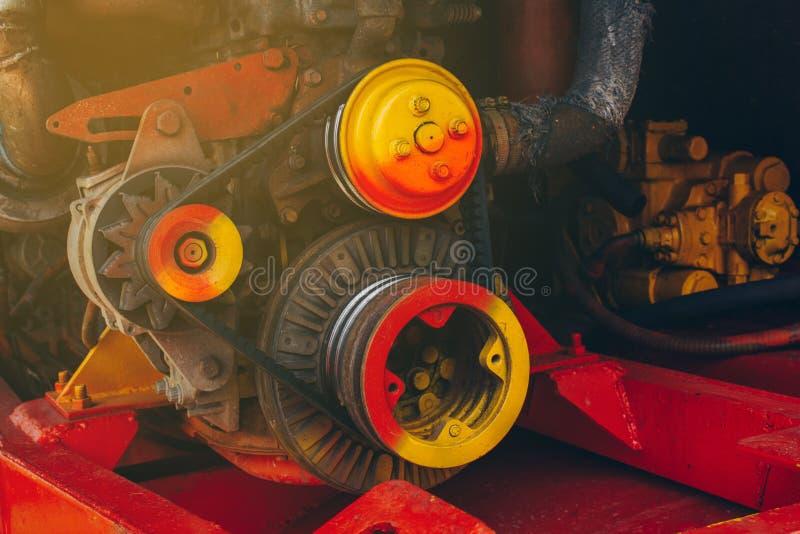 Engine mechanism combine harvesters stock photo