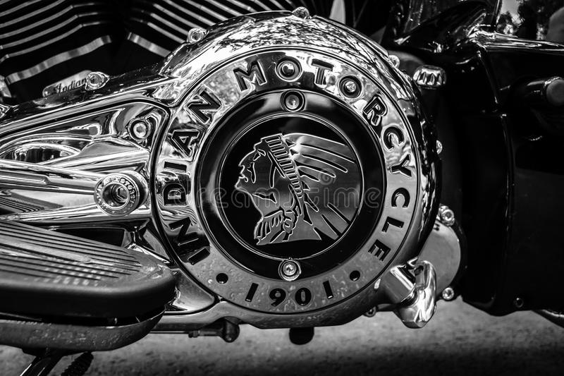 Engine of motorcycle Indian Chieftain. royalty free stock photos