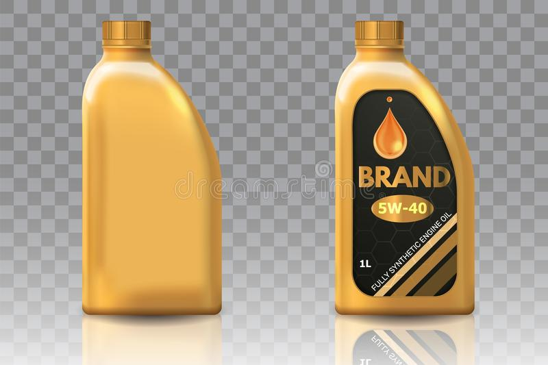 Engine oil plastic bottle package mockup set. Vector realistic illustration of blank plastic canister for motor oil and container with label isolated on royalty free illustration