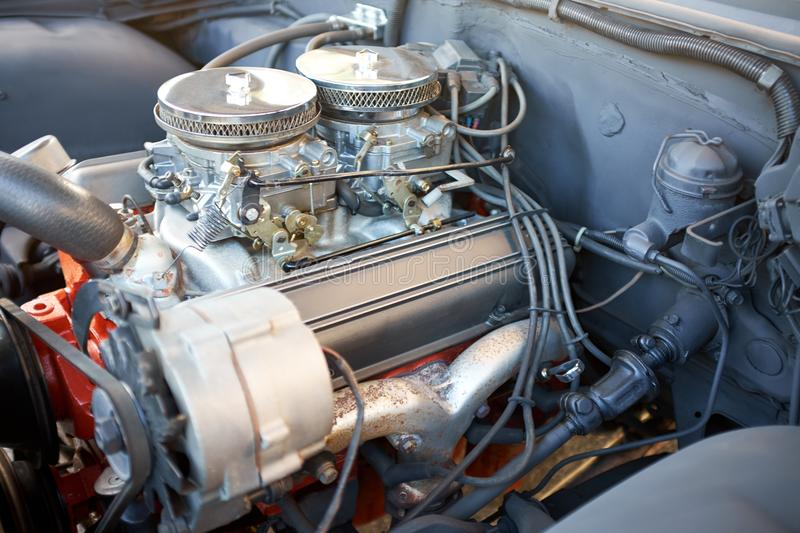 Engine of an old vintage car or pickup truck stock image
