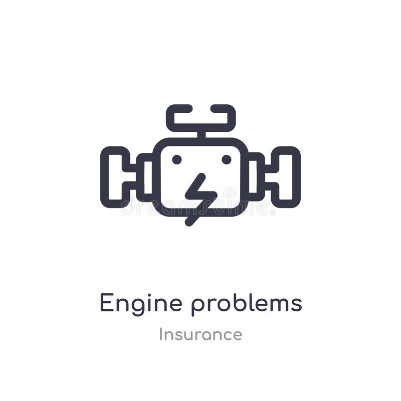 engine problems outline icon. isolated line vector illustration from insurance collection. editable thin stroke engine problems royalty free illustration