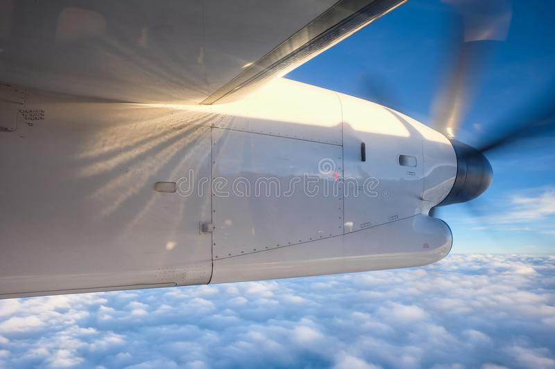 Engine propeller aircraft spinning. In the sky royalty free stock photo