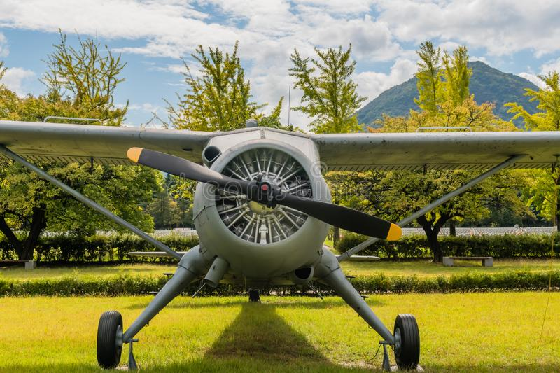 Engine and propeller of De Havilland U-6 Beaver. Daejeon, South Korea; October 3, 2019: Front view of engine and propeller of De Havilland U-6 Beaver airplane on stock photography