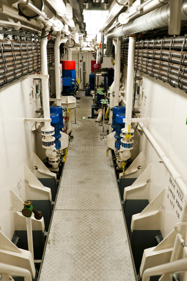 The Engine Room Design: Engine Room Aboard Modern Ship Stock Photo