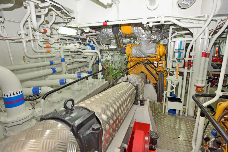 Engine room on a cargo boat stock photo