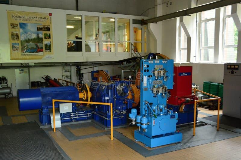 Engine room of ground lifts, Hrebienok, High Tatras. Ground funnel Starý Smokovec 1025m, - Hrebienok 1272 m.. This cableway runs at 1,937 meters of cubicle royalty free stock photo